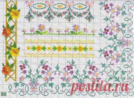 Цветочные бортики и орнаменты: подборка схем — DIYIdeas