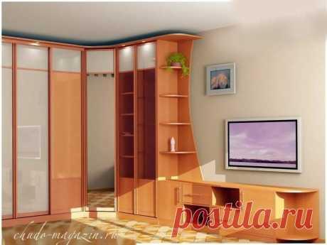 Шкаф угловой для гостиной комнаты по размерам; фото, дизайн, вид, заказ, замер.