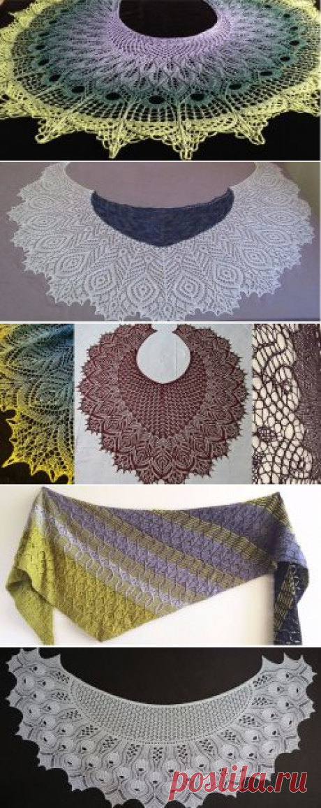 Scarfs and shawls, knitted spokes and a hook, schemes and descriptions - Вяжи.ру - model 4