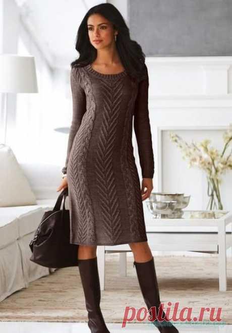 Красивое вязание   Стильное вязанное платье.
