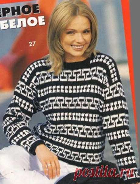 Черно-белые пуловеры с жаккардовым узором