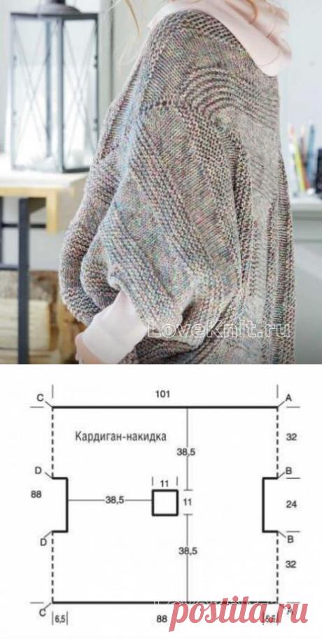 Кардиган-накидка простым узором схема спицами » Люблю Вязать
