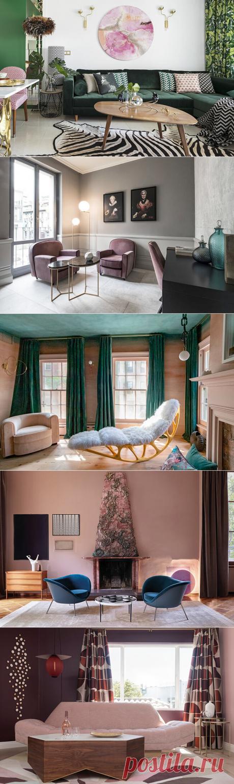 Розовый и зеленый в интерьере гостиной: 33 решения   Интерьер+Дизайн   Яндекс Дзен