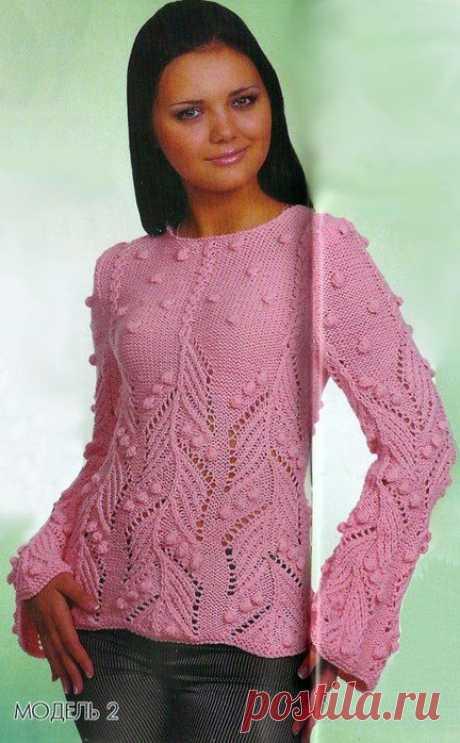 Пуловер спицами с узором шишечки. Красивый пуловер связанный спицами |