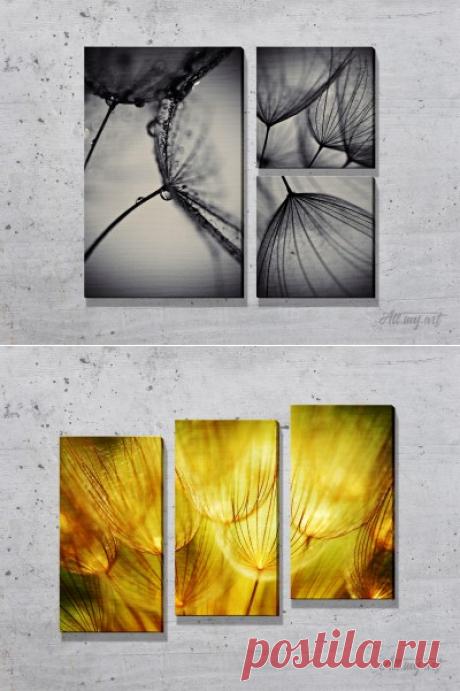 Модульные картины с одуванчиками. #картина #модульнаякартина #декор #интерьер #дизайнинтерьера #уют #атмосфера