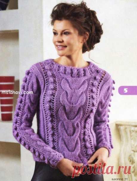 Вязаный свитер с косами и шишечками - Вяжем с Лана Ви