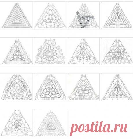 Треугольные мотивы крючком. Схемы | Вязаная сказка