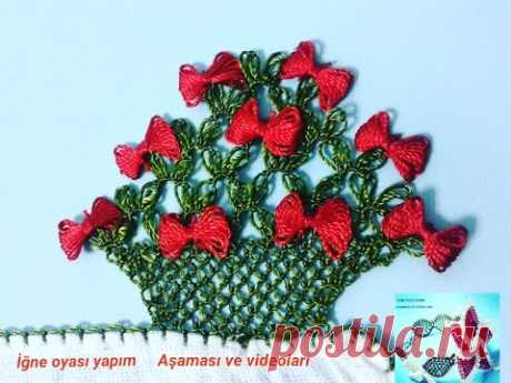 İğne Oyası Fiyonk Sepeti nasıl yapılır ?  ***  iğne oyası çiçek modelleri *** diy