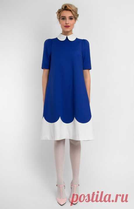 Solene Платье А-силуэта из эластичного хлопка. Декоративные банты на кнопках сзади. Круглый воротник на стойке. Потайная молния на спине. На фото: модель ростом 178 см, размер S.