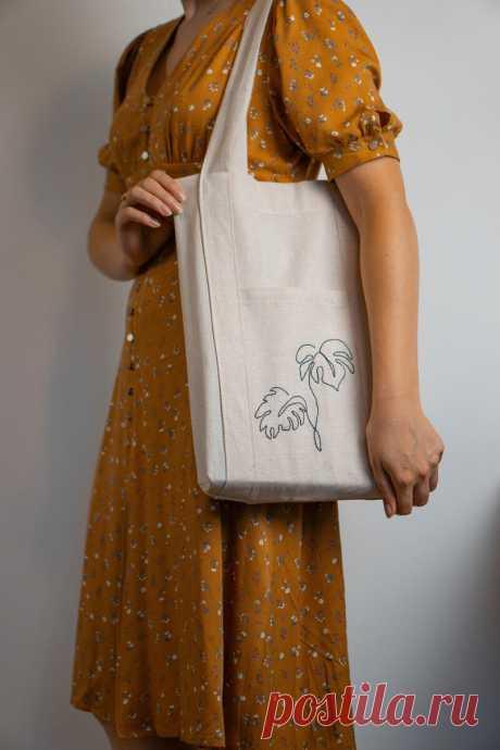 Показываю, как быстро и просто сшить сумку шоппер для дома самостоятельно. Есть выкройка | Yana Bezdushna Blog | Яндекс Дзен