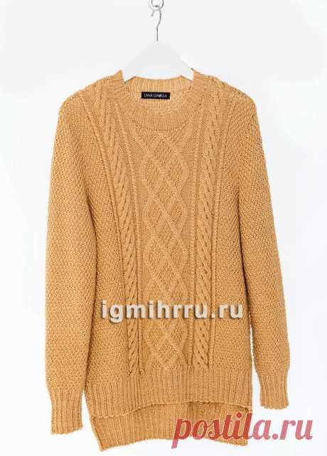Для полных дам. Пуловер с жемчужным узором и ромбами. Вязание спицами со схемами и описанием