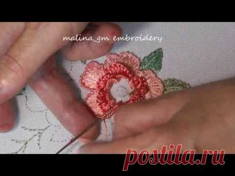 Dimensional embroidery | Big flower | blanket & rococo stitches