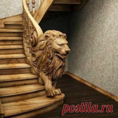 Лёва удивительный украшает лестницу 🏻 Шикарная работа.
