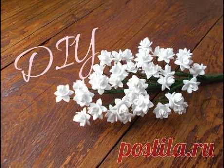 DIY Веточка с маленькими цветочками из фоамирана