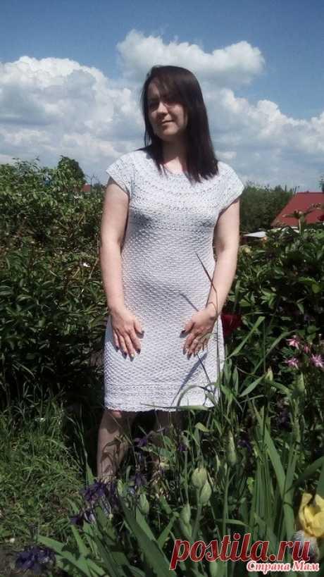 Серое платье из хлопка крючком В конце весны в подарок сестре связалось вот такое платье.  Пряжа куплена в Фикс Прайсе. Состав: 100% хлопок. Вес платья 340 грамм.  Платье вязала сверху вниз одним полотном. Узор кокетки