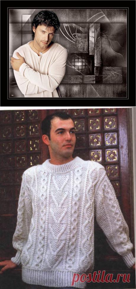 Белый аранский свитер