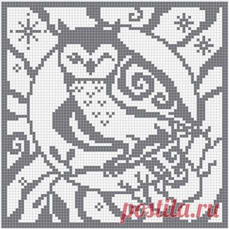 Схемы для филейного вязания: птички