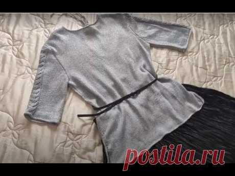 Кофта с имитацией втачного рукава ( с вытачками ), спицами