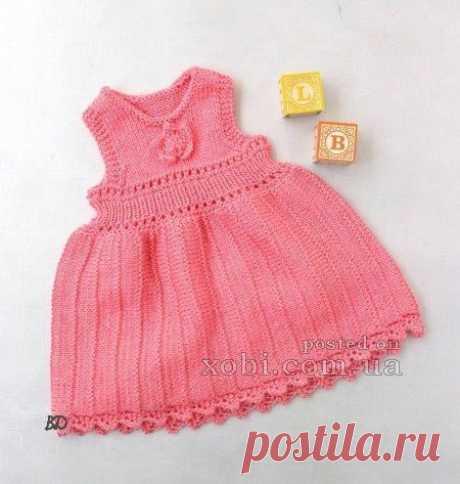 Платье для девочек от 1 до 2 лет спицами.