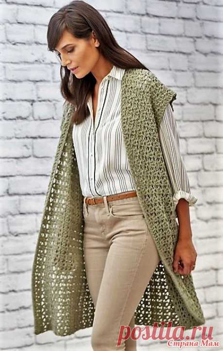 Стильный длинный ажурный жилет. Крючок. https://www.knittingideas.ru/