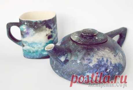 Рисуем космос акриловыми красками по керамике