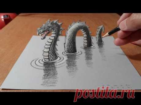 3D рисования Лохнесское чудовище, Trick искусства дракона на бумаге