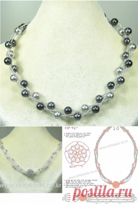 Бусы серебристые (4 вида) Колье, бусы, ожерелья – Бисерок