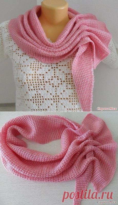 Интересный шарф - платок тунисским вязанием из категории Интересные идеи – Вязаные идеи, идеи для вязания