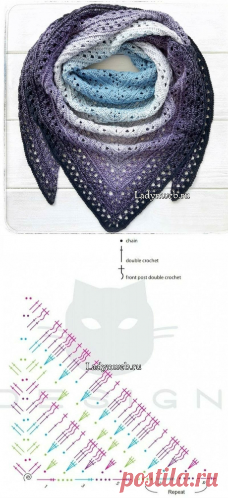 Шарф косынка крючком схема | Ladynweb.ru
