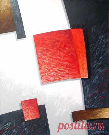 Композиция с красным квадратом 2005 100х80 х.м.
