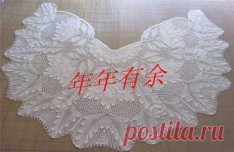 Шикарная белая шаль спицами