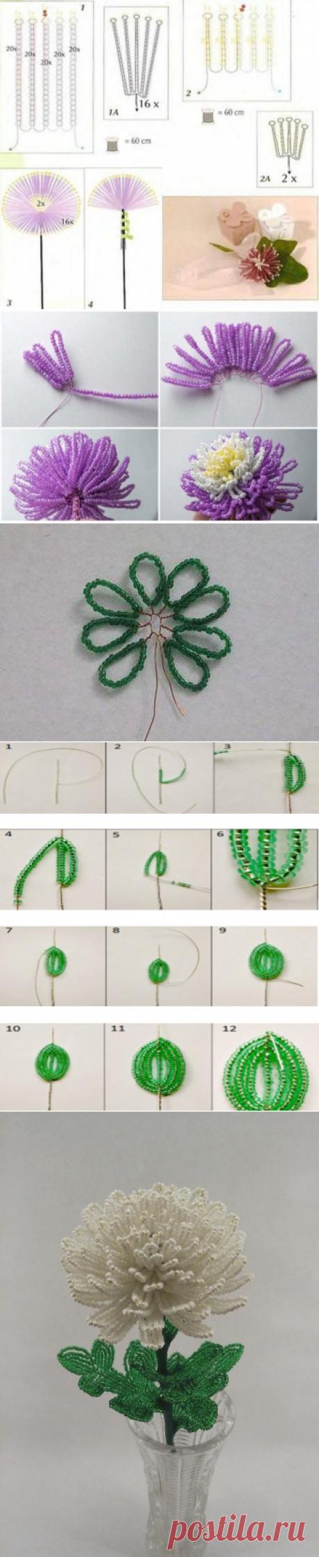 ❁ Как сделать хризантему из бисера #МК с пошаговым фото и схемами