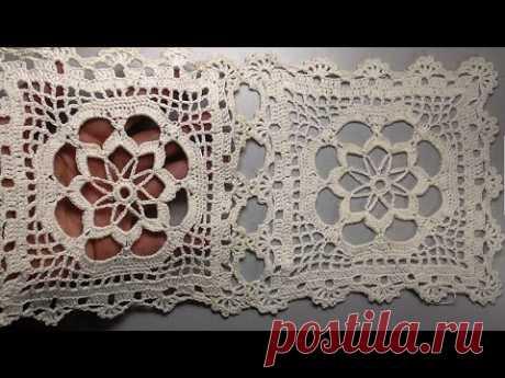 Crochet motif patterns for tablecloth part 1 Мотив для скатерти Часть1