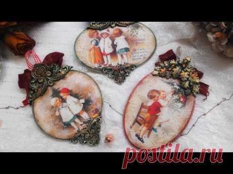 Christmas vintage  pendants ♡♡♡ Decoupage tutorial