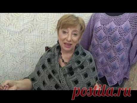 """Шаль """"Перья"""". Мастер-класс по вязанию крючком от О. С. Литвиной."""
