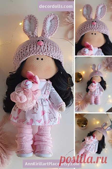 Bunny Doll Handmade Interior Decor Doll Tilda Cloth Doll | Etsy