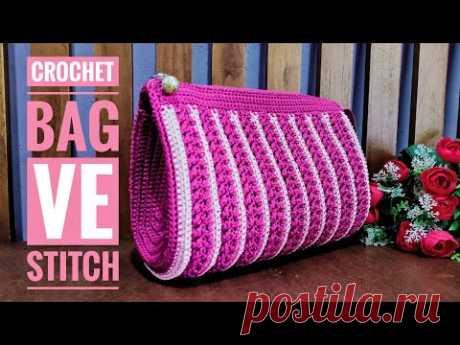 Crochet || Tutorial Tas Rajut Ve Stitch || Subtitles Available