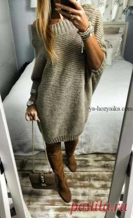 Платье крупной вязкой спицами.Связать платье для осени спицами