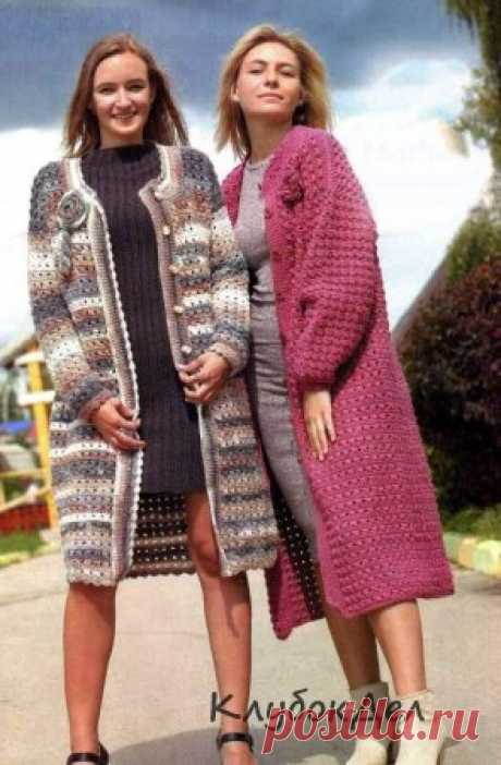 Вязание крючком - модное женское пальто схемы с описанием вязания крючком