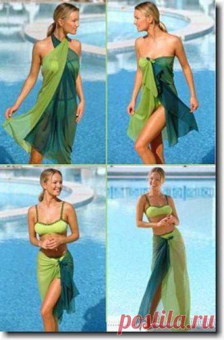 ¿Cómo atar pareo? Pareo — el satélite frecuente del traje de baño. El detalle hermoso y multifuncional de la imagen de playa.