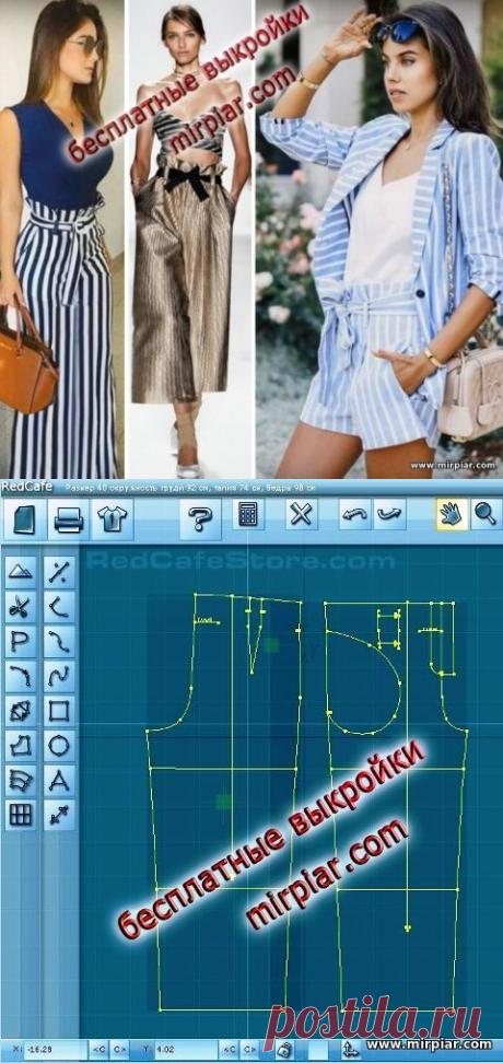 Бесплатные выкройки: брюки с завышенной талией, шорты, кюлоты MirPiar.com