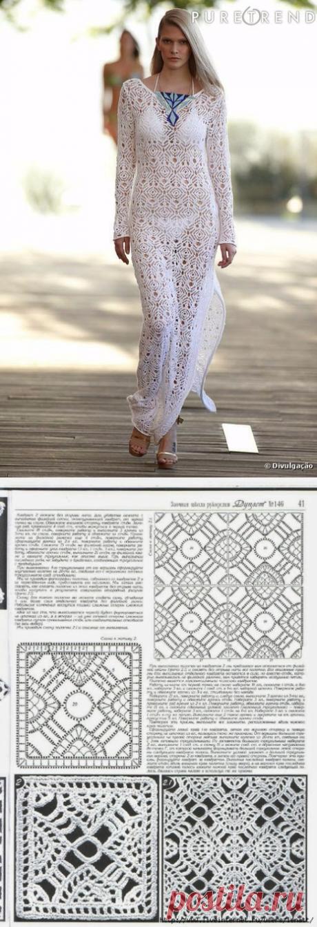 Белое пляжное платье от дизайнера со схемами. Красивое вязаное пляжное платье крючком   Домоводство для всей семьи.