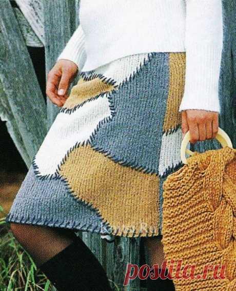 Яркая юбка из вязаных спицами лоскутов из категории Интересные идеи – Вязаные идеи, идеи для вязания