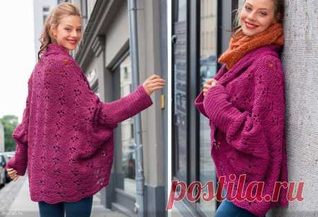 Free jacket hook pattern zigzag. A jacket with the rounded-off shelves connected by a hook |
