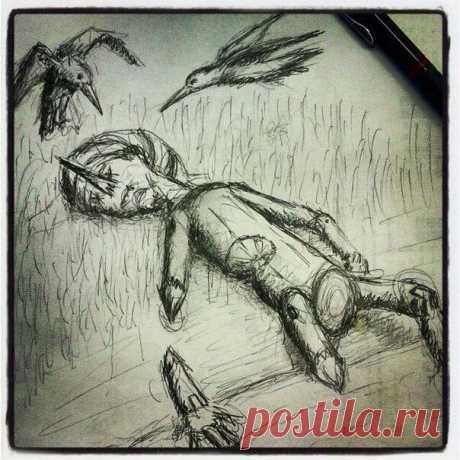 Бобры загрызли Буратино Он весь в березовом соку Лежит в траве раскинув руки.... И дятлы кружатся над ним...