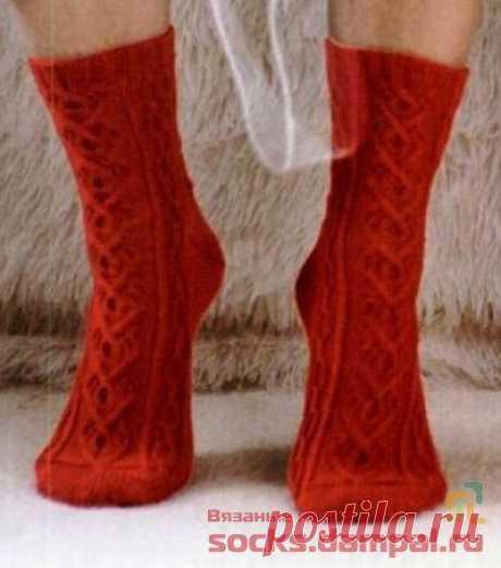 Вязаные носки «Красные сердца» | ВЯЗАНЫЕ НОСКИ