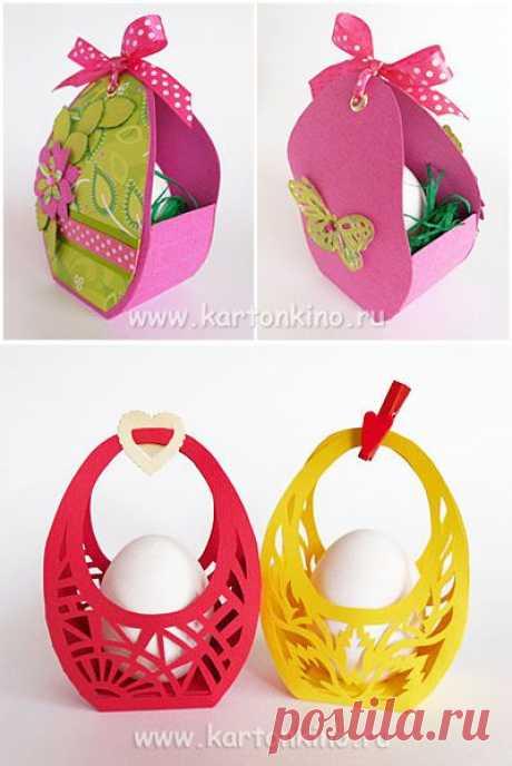 Пасхальные корзинки из бумаги - для подарков или для творчества с детьми.