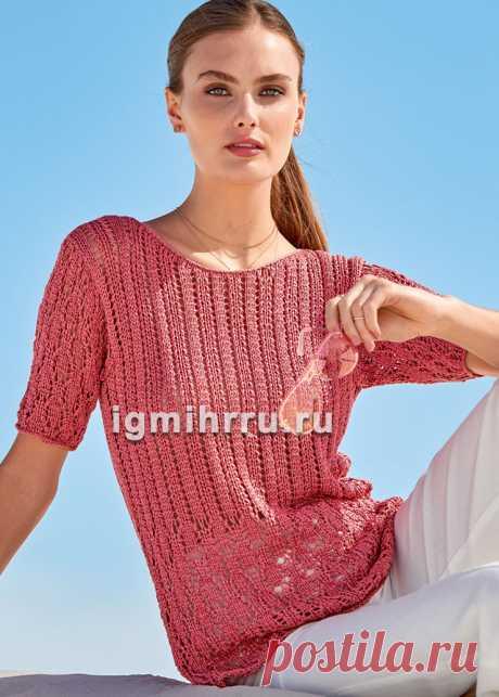 Коралловый шелковый пуловер с короткими рукавами. Вязание спицами со схемами и описанием