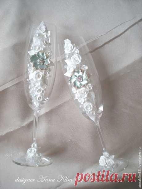 """Купить Бокалы """"перламутровая роза"""" - белый, Бокалы, свадебные бокалы, Декоративные бокалы, бокалы на свадьбу"""
