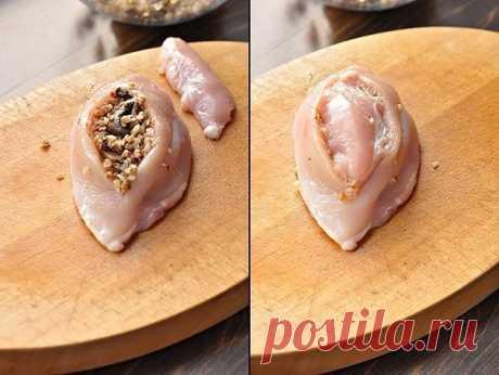 Куриные грудки фаршированные гречкой и шампиньонами, тушенные в сливочно-грибном соусе. | OK.RU